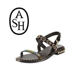 ASH Peace Sandal {10} Flat Black Beaded RARE
